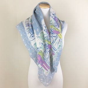 Vintage Blue Silk Illustrated Patterned Scarf